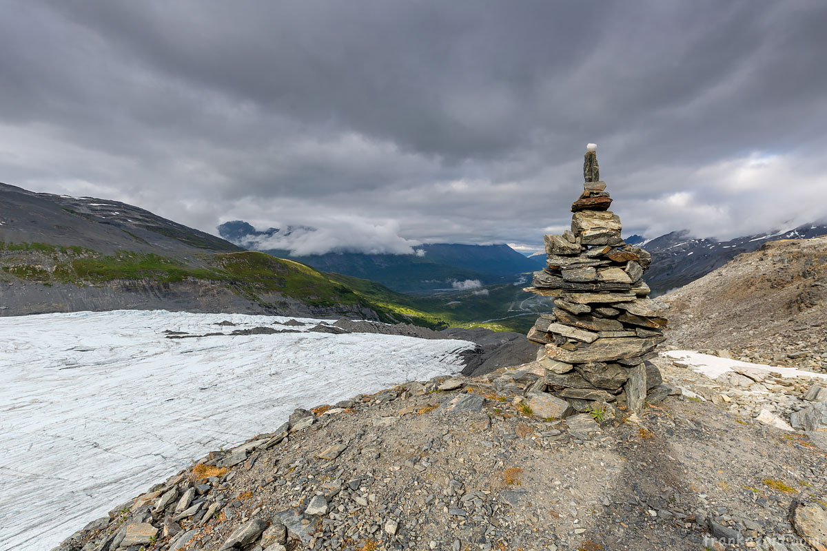 Rock tower at Worthington glacier