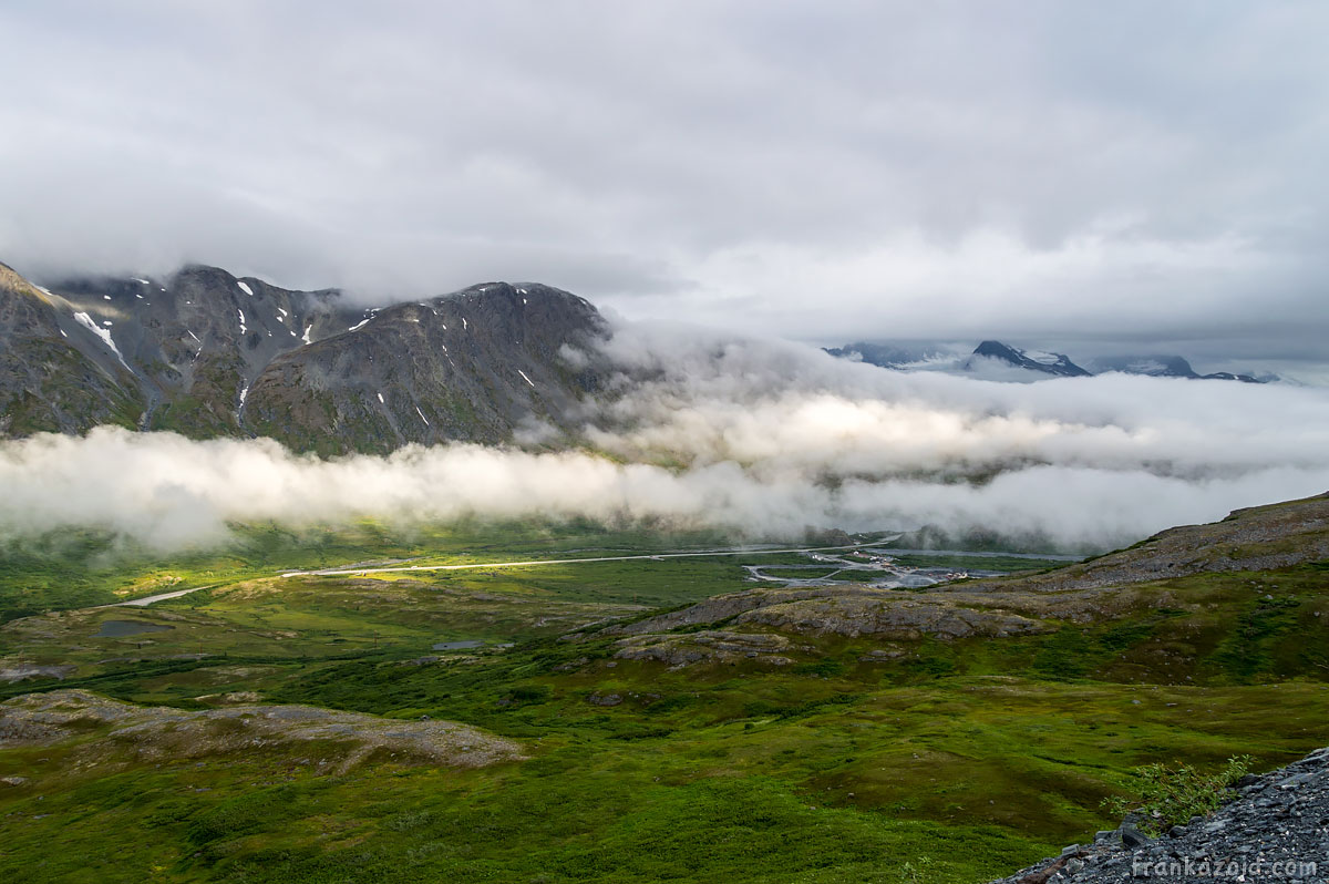 Worthington glacier valley overview with clouds